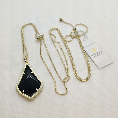 New Kendra Scott Alex Pendant Necklace In Black / Gold Black Gold Chandelier