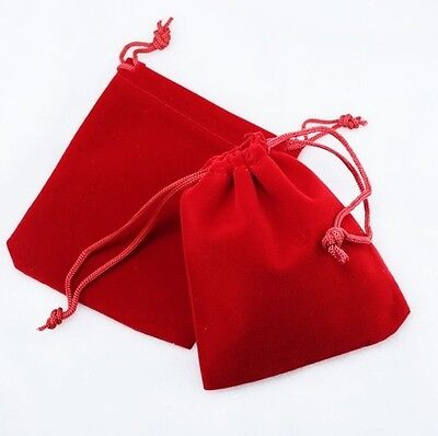25 Small Red Gift Jewelry Drawstring Bags 2-1-2 X 3 Flocked Velveteen Pouch