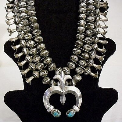 VTG 1930's NAVAJO STERLING SILVER & TURQUOISE SQUASH BLOSSOM NECKLACE -353 grams