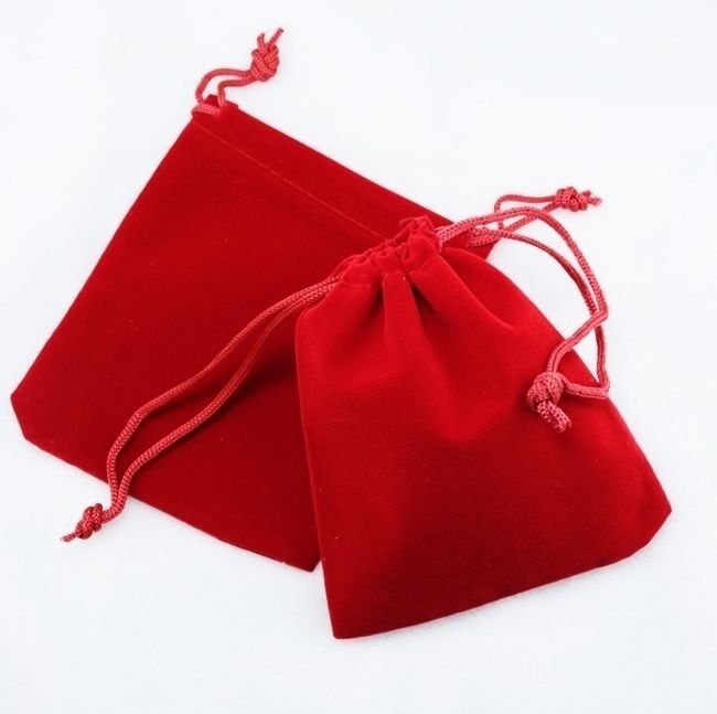 """100 Small RED GIFT Jewelry Drawstring Bags 2-1-/2"""" x 3"""" Flocked Velveteen Pouch"""