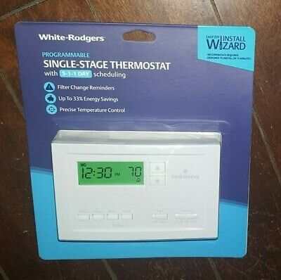 White-Rodgers Single Stage 5-1-1 Day Programmable Thermostat