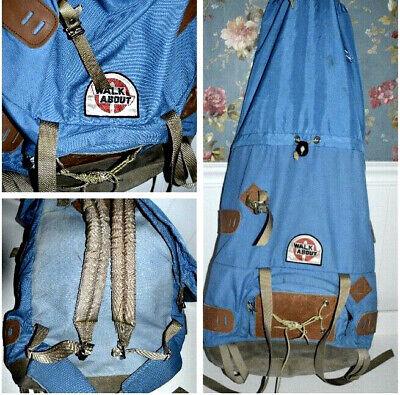 Vtg Walkabout Backpack Rucksack Hiking Alpine Nylon Suede Leather Blue L2 Alpine Nylon Backpack