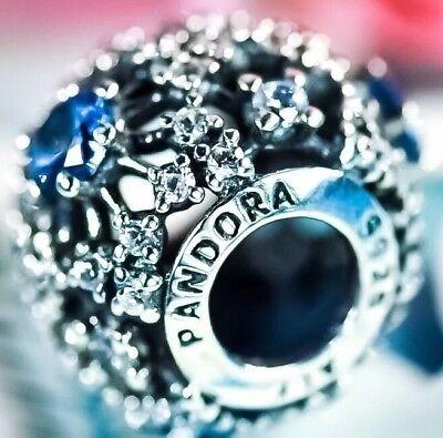 Genuine Silver Pandora Cinderella's Wish Snowflake Blue Disney Charm S925 ALE