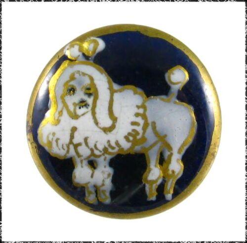 Vintage Japanese Ceramic Button - Poodle on Cobalt Blue Background, Small Size