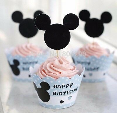 Micky Mouse Decorations (20 Sets NEW Micky Mouse Birthday Party Cupcake Wrappers & Toppers)