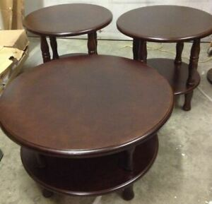 Coffee table.Wooden round , 3pc set,new in box