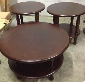 Coffee Table Wooden Round 3pc Set