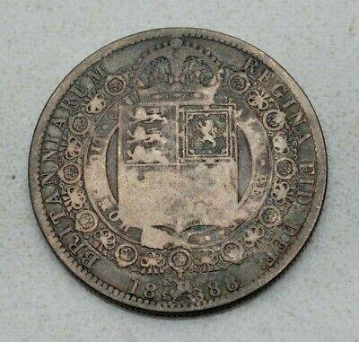 SCARCE OLD 1888 GREAT BRITAIN, BRITISH HALF CROWN SILVER COIN! VICTORIA, NICE!