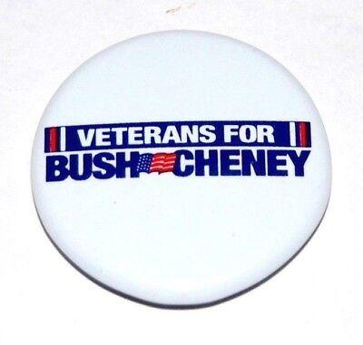 2000 GEORGE W. BUSH VETERANS Dick Cheney campaign pin pinback button political