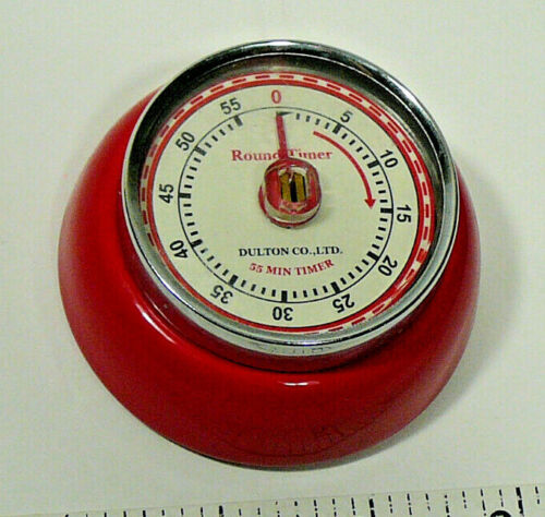 Dulton Co. 100-189 Red Round Timer 55 Minute Timer Magnetic Retro Mechanical