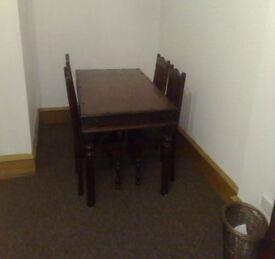 mahogany dining table & 4 chairs