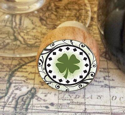 Wine Stopper, Four Leaf Clover Handmade Wood Bottle Stopper, St. Patrick's -