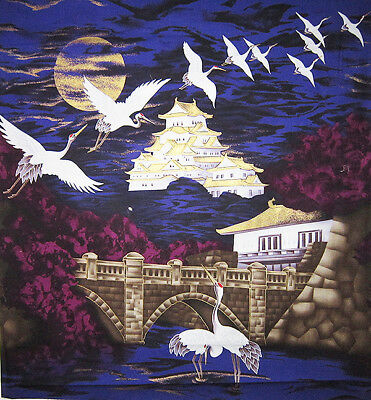 Asian Quilting Fabric - Cranes Over Gilded Castle:  Purple Asian Japanese Fabric Panel  - Quilt