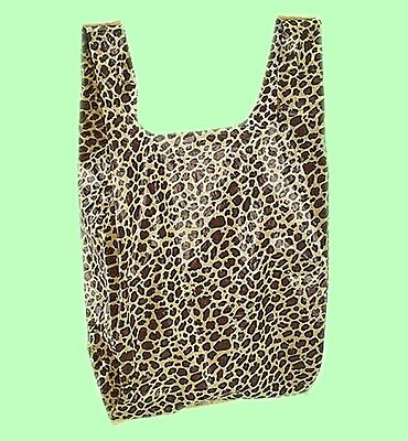 100 Qty 8 X 5 X 16 Leopard Print Small Plastic Merchandise Bags Whandles