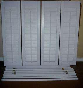 4 Faux Wood White Interior Plantation Shutters .. Exc Condition