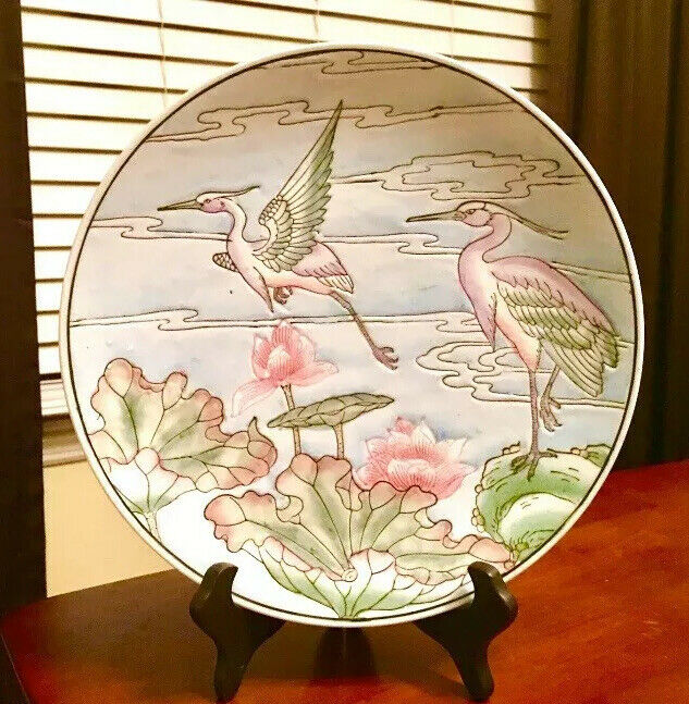 BEAUTIFUL HERON BIRD BIRDS WITH PINK AND GREEN LILY PAD FLOWERS PLATE