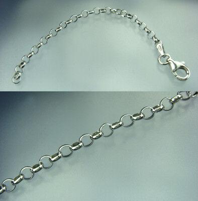 925 Silber Ketten verlängerung rhodiniert bis 10 cm Länge 3,2 mm rund Karabiner