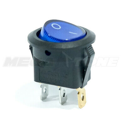 12vdc Spst 3-pin Onoff Rocker Switch Wblue Led Lamp 10a125vac Usa Seller