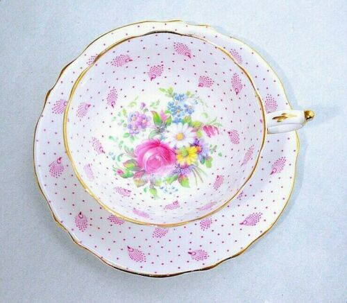 Paragon England Pink Rose Flowers Bouquet Pink Dot Cup Saucer Set