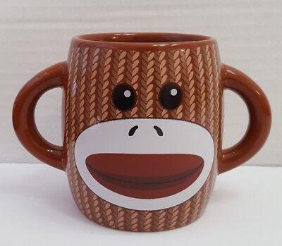 Sock Monkey Cartoon Face Two Handle Oversized Coffee Tea Cup Mug