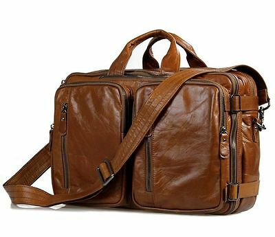 Men's Genuine Vintage Leather Briefcase Laptop Dispatch Travel Backpack Tote Bag