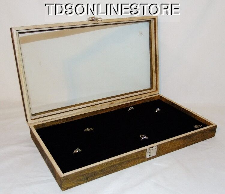 Rustic Antique Brown Color 144 Ring Glass Top Display Case Black Insert
