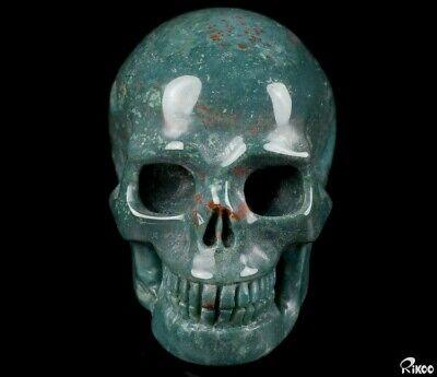"2.0"" BLOODSTONE Carved Crystal Skull, Realistic, Crystal Healing"