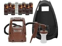 Spray tanning machine gun and tent with carry bag