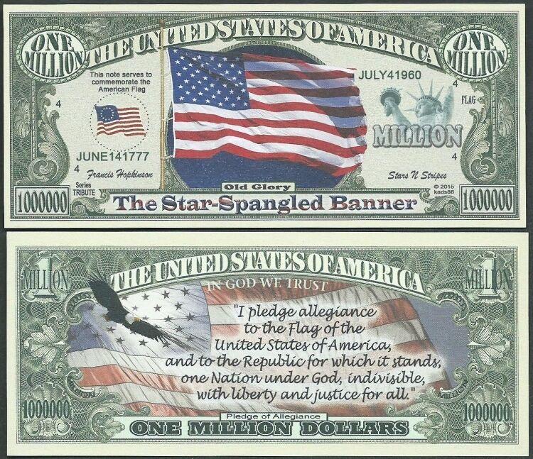Lot of 25 Bills - AMERICAN FLAG w PLEDGE OF ALLEGIANCE UNITED STATES BILLS