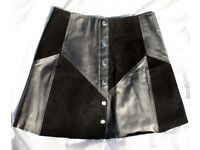Vintage Leather High Waisted Skirt / A Line Style / Size UK 8 / S/M