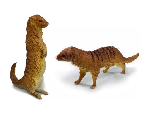 AAA 55039SET Meerkat Mongoose Standing Walking Animal Toy Model Set of 2 - NIP