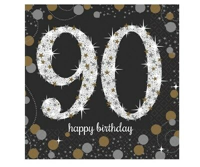 90th Birthday Party Decorations (90th Small Beverage Napkins Sparkling Celebration 90th Birthday Party)