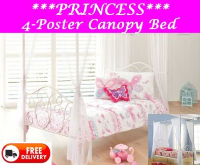 DELIVERED FREE Princess Four Poster Canopy Bed White or Pink New Farm Brisbane North East Preview