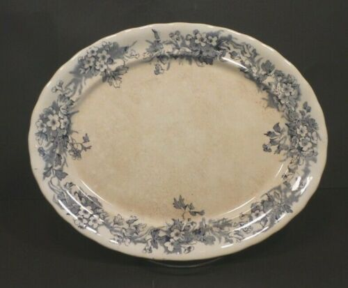 "RARE Antique FURNIVAL 11.5"" Serving Platter White w/ Blue Trim Ironstone"