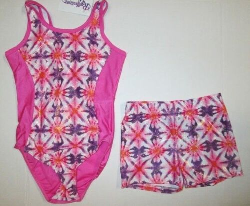 Leotard Shorts Set New Size 8-10 MC Child Gymnastics Pink Foil Lot Dance M