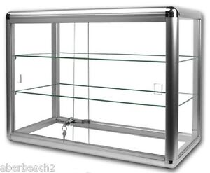 Glass Countertop Display Case Store Fixture Showcase Key lock 3 shelf SILVER S1