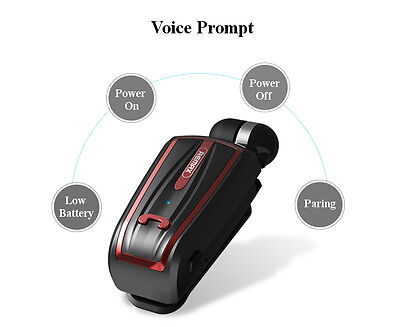 Best Collar Clip On Voice Prompt Retract Cable Bluetooth Phone Earphones