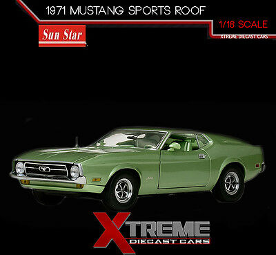 SUNSTAR SS-3620 1:18 1971 FORD MUSTANG SPORTS ROOF GREEN DIECAST MODEL CAR