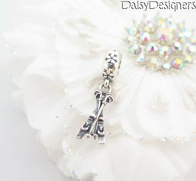NEW Authentic PANDORA Sterling Silver SNOW SKIS Ski Dangle Charm 791367 RETIRED