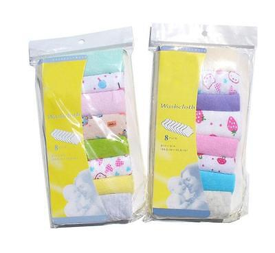 Best-chioce New 8Pcs/Pack Baby Face Washers Hand Towels Wipe Wash Cloth JG (Best Face Wash Wipes)