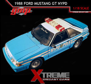 GMP 18812 1:18 1988 FORD MUSTANG GT NYPD STREET PATROL DIECAST MODEL CAR