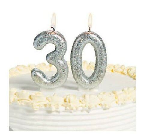 30th Candles Birthday Milestone Silver Glitter Sparkling Party Decorations 30 yr