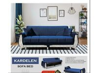 Brand New Stylish Blue and Brown Color Sofa / Couch Bed 1, 2 and 3 Seater Available