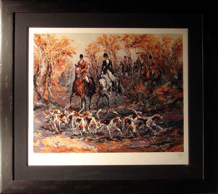 Mark King Autumn Hunt framed horses & dogs SUBMIT BEST OFFER, HAND SIGNED ART