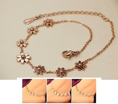 Stainless Steel Rose Gold Anklet Foot Jewelry Daisy Flower Ankle Bracelet NP