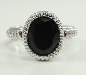 925-Sterling-Atelier-Mexico-Black-Onyx-Ring-Accent-Ruby-Designer-Band-Sz-6-25
