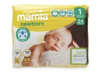 10 packs of Mamia nappies size 1
