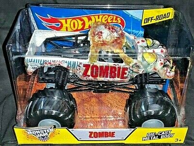 HOT WHEELS MONSTER JAM 2014 OFF-ROAD 1/24 DIE CAST ZOMBIE WITH GIANT TIRES RARE!