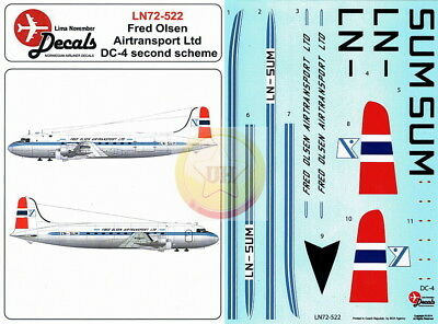 "1/72. Douglas DC-4 ""Fred Olsen later"" decals, by ""LN Decals"" LN 72-522"