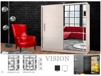 💞CLEARENCE STOCK💞BRAND NEW VISION SLIDING MIRROR DOOR WARDROBE💞FREE DELIVERY💞